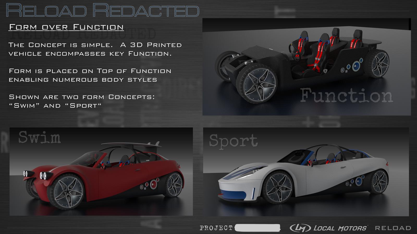 Local motors reveals the design for its reload redacted for Local motors 3d printed car